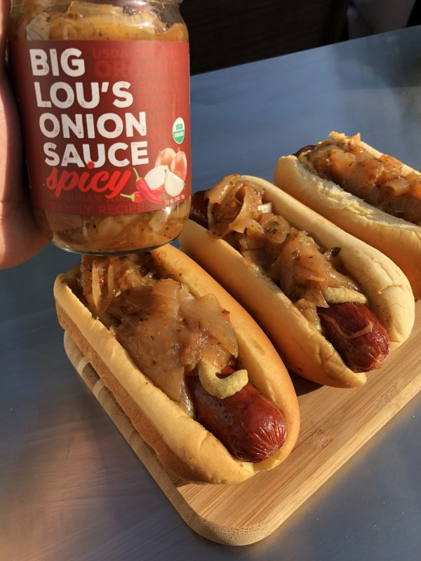 Hot Dog with Spicy Onion Sauce