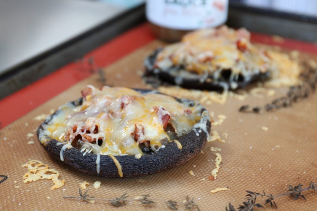 stuffed portobello mushroom with bacon and onion