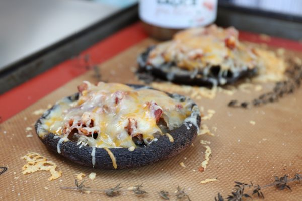 French Onion Mushroom Cups with Bacon