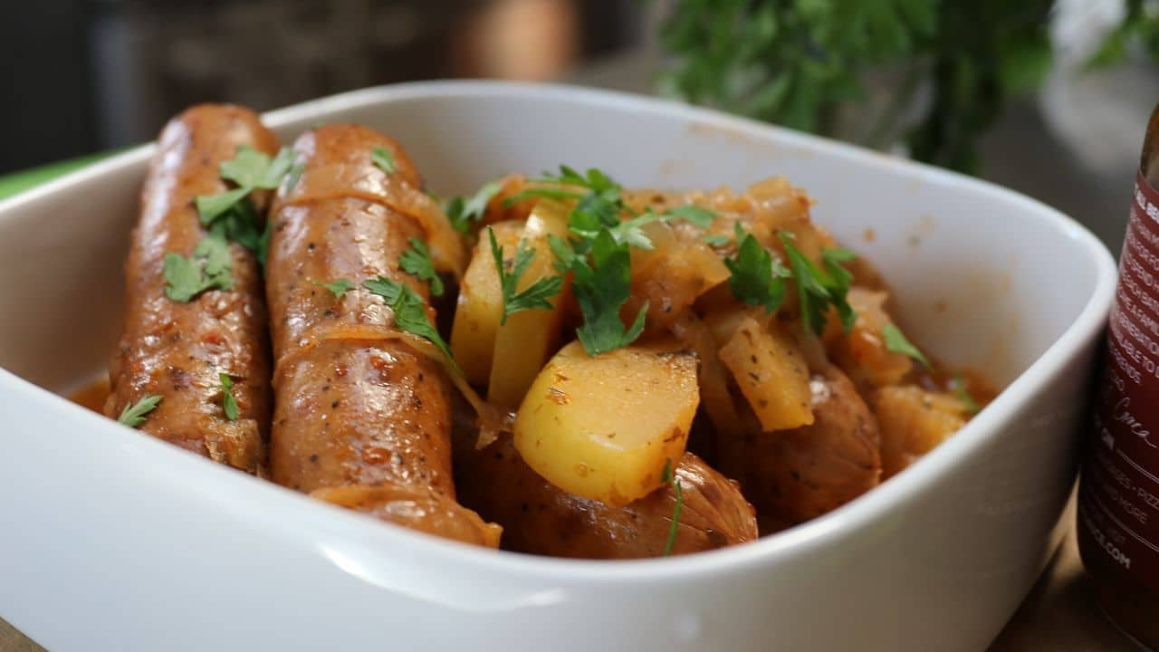 Beer Braised Sausage with Apple & Onions